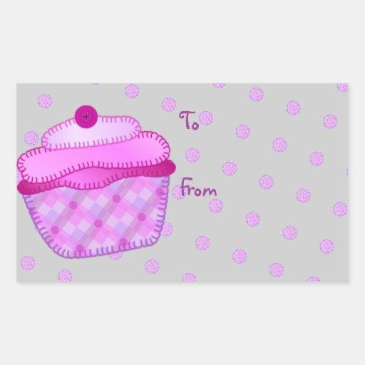 Cupcake Applique Mauve Gift Tag Rectangular Sticker