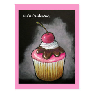 Cupcake: Art: Invitation, Celebration Postcard
