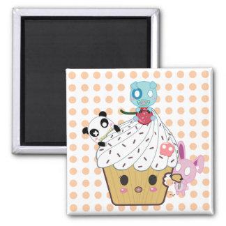 Cupcake Attack! (>_<) 2 Inch Square Magnet