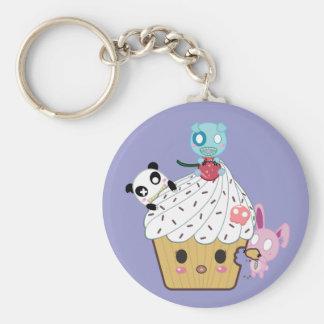 Cupcake Attack! (>_<) Basic Round Button Keychain