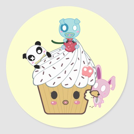 Cupcake Attack! (>_<) Classic Round Sticker