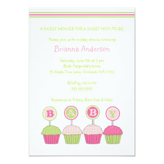 Cupcake BABY Shower Invite Pink and Green Girl
