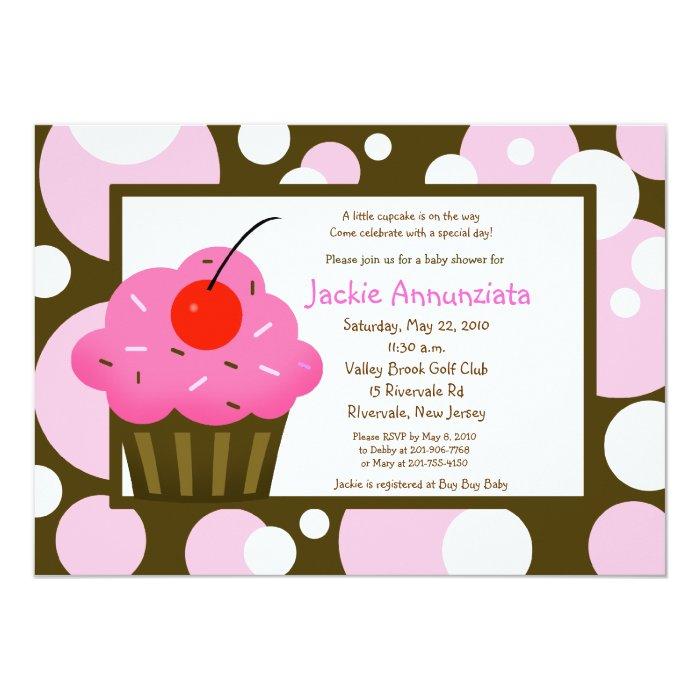 Cupcake Baby Shower Modern Dot Pink Chocolate Card