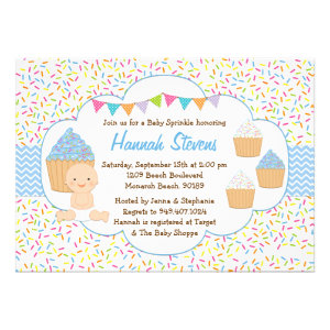 Cupcake Baby Sprinkle Shower Invitation Blue Boy