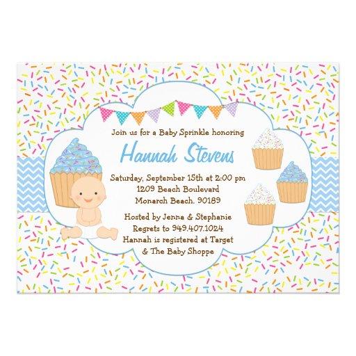 Cupcake Baby Sprinkle Shower Invitation Blue Boy