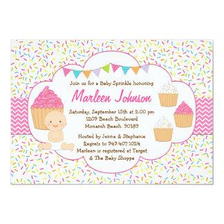 Cupcake Baby Sprinkle Shower Invitation Pink Girl