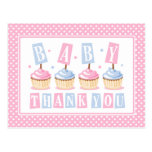 Cupcake Baby Thank You Postcards