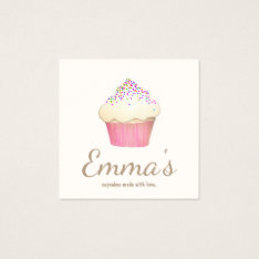 Cupcake Baker Bakery Chef Catering Square Business Card at Zazzle