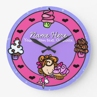 Cupcake.Baker.Baking.Pink.Personalized. Wall Clocks