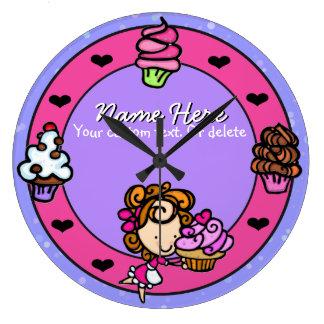 Cupcake.Baker.Baking.Pink.Personalized. Large Clock