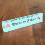 Cupcake Baker Customizable Name Plate