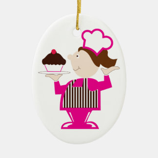 Cupcake Baker Double-Sided Oval Ceramic Christmas Ornament