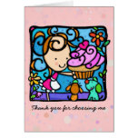Cupcake Baker Girl Cute Puppies Greeting Cards