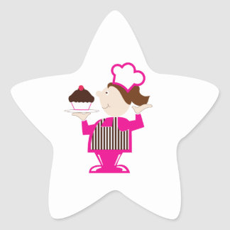 Cupcake Baker Star Stickers