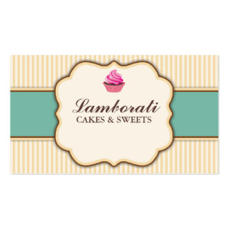 Cupcake Bakery Beige Elegant Retro Modern Stripes Double-Sided Standard Business Cards (Pack Of 100)