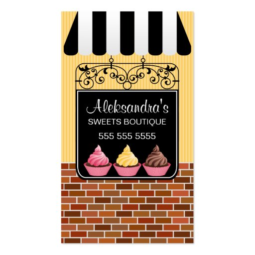 Cupcake Bakery Boutique Business Cards (front side)