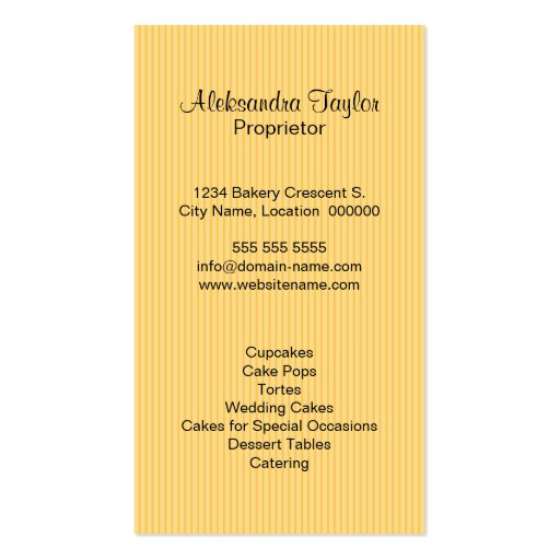 Cupcake Bakery Boutique Business Cards (back side)
