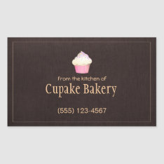 Cupcake Bakery Business Card Brown Label Sticker at Zazzle