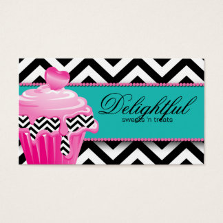 Cupcake Bakery Business Card Chevron Retro