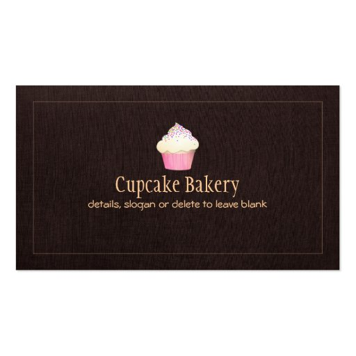 Cupcake Bakery Business Card Faux Brown Linen 2 (front side)