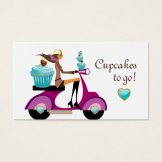Cupcake Bakery Business Card Scooter Girl
