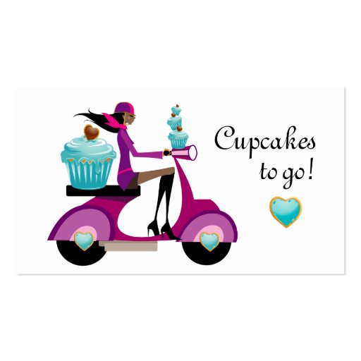 Cupcake Bakery Business Card Scooter Girl AA