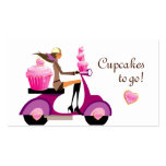 Cupcake Bakery Business Card Scooter Girl Pink 2