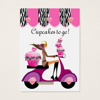 Cupcake Bakery Business Card Scooter Girl Zebra