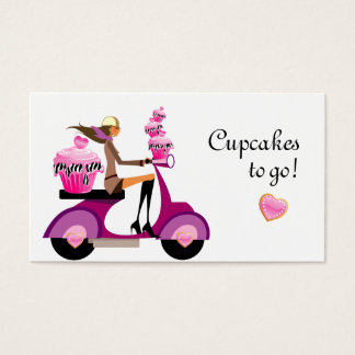 Cupcake Bakery Business Card Scooter Zebra