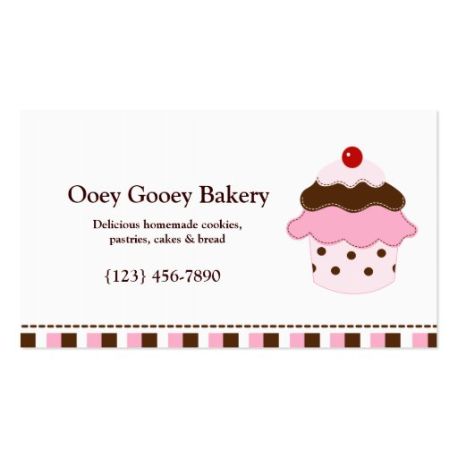cupcake bakery business card template zazzle. Black Bedroom Furniture Sets. Home Design Ideas