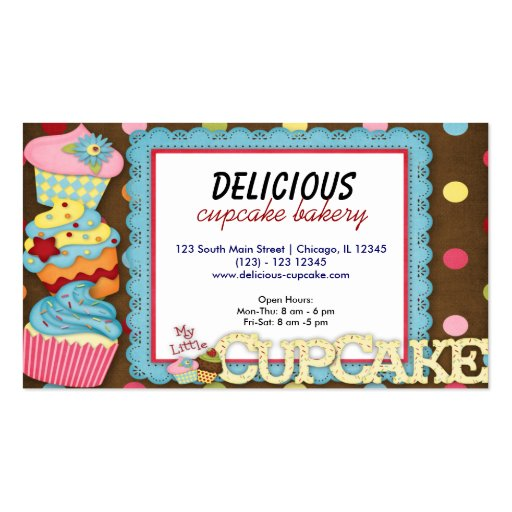 cupcake bakery double sided standard business cards pack of 100 zazzle. Black Bedroom Furniture Sets. Home Design Ideas