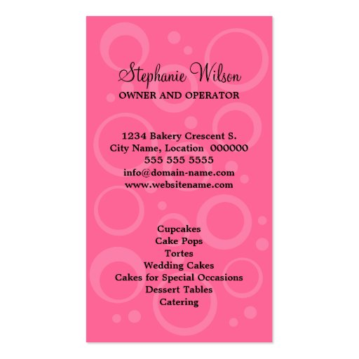 Cupcake Bakery Business Cards (back side)