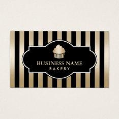 Cupcake Bakery Classy Black & Gold Stripes Modern Business Card at Zazzle
