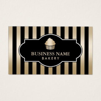 Cupcake Bakery Classy Black & Gold Stripes Modern Business Card