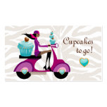 Cupcake Bakery Cute Scooter Girl Zebra Modern Double-Sided Standard Business Cards (Pack Of 100)