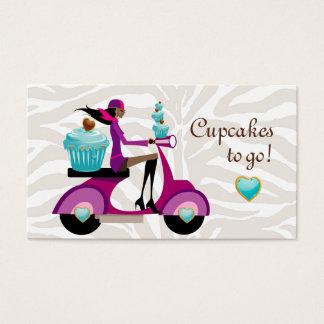 Cupcake Bakery Cute Scooter Girl Zebra Modern Business Card