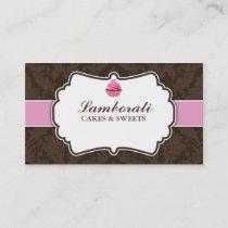 Cupcake Bakery Elegant Damask Floral Pattern Business Card