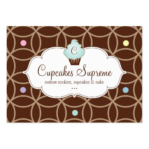 Cupcake Bakery Gift Certificate Stripes White Blue Business Card Template