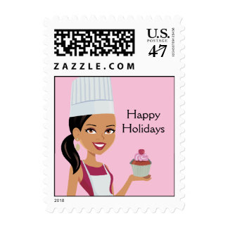 Cupcake Bakery Happy Holidays Stamp #1