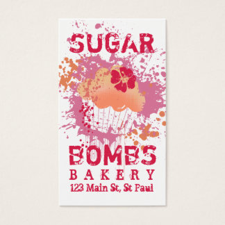 Cupcake bakery ink blot grunge splatter pink business card