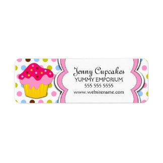 Cupcake Bakery Labels Custom Return Address Label
