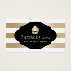 Cupcake Bakery Modern Gold Stripes Business Card at Zazzle