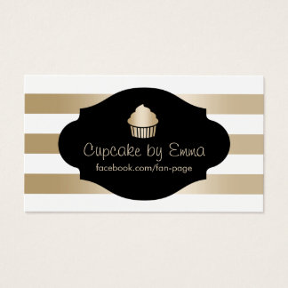 Cupcake Bakery Modern Gold Stripes Business Card