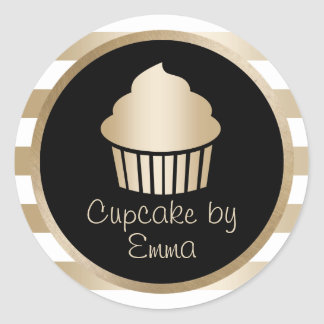 Cupcake Bakery Modern Gold Stripes Classic Round Sticker