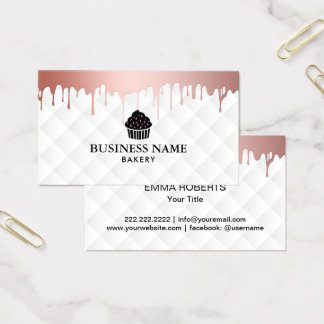 Cupcake Bakery Modern Rose Gold Drips Elegant Chef Business Card