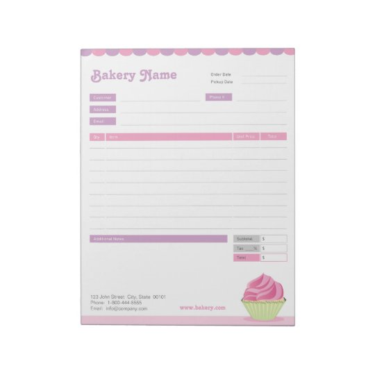 Cupcake Bakery Order Form Or Invoice Notepad  ZazzleCom