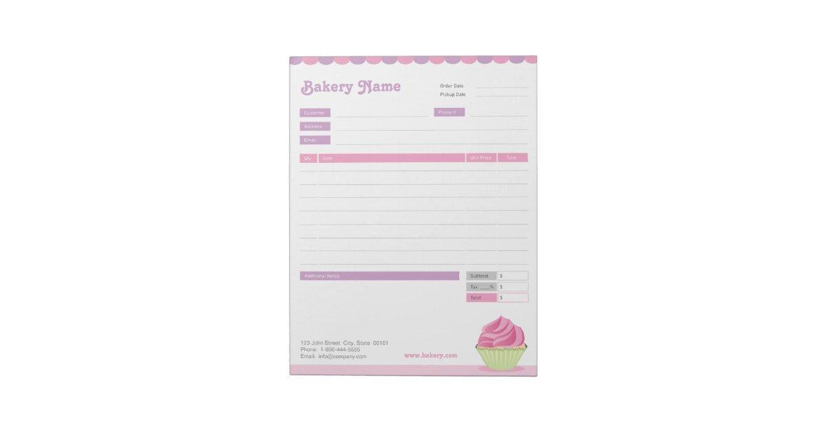 cupcake bakery order form or invoice notepad. Black Bedroom Furniture Sets. Home Design Ideas