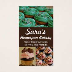 Cupcake Bakery Photo Business Cards at Zazzle
