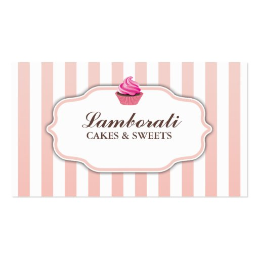 Cupcake Bakery Pink  Cute Elegant Modern Business Card Template (front side)