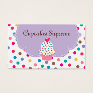 Cupcake Bakery Polka Dots Purple Heart Business Card
